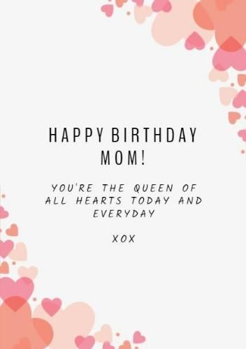 A Simple Happy Birthday Mom Card Template With A Bright Background And Pink And Orange Hearts