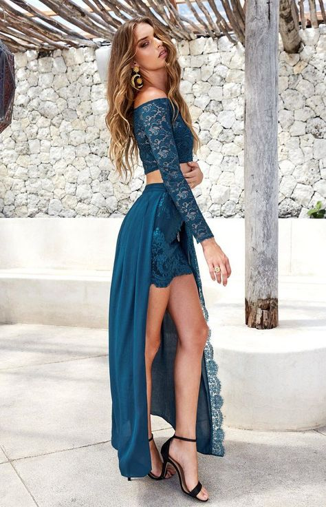 8a123010c213b 2 Pieces Long Sleeve Blue Lace Prom Dresses, Chic Chiffon Prom Dresses,  Popular Prom Dresses, PD19003 · FoucsDresses · Online Store Powered by  Storenvy