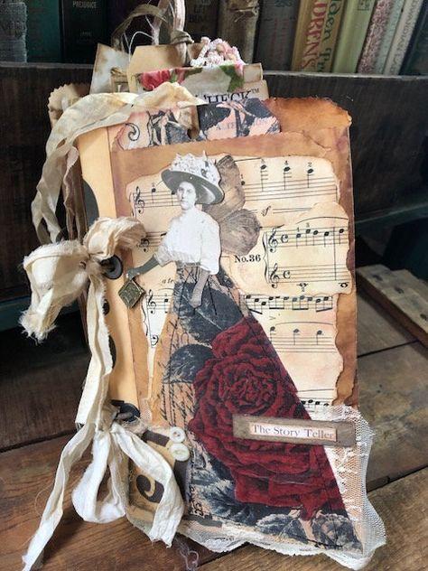 Grungy Bag journal, Handmade journal, distressed journal, binder ring journal