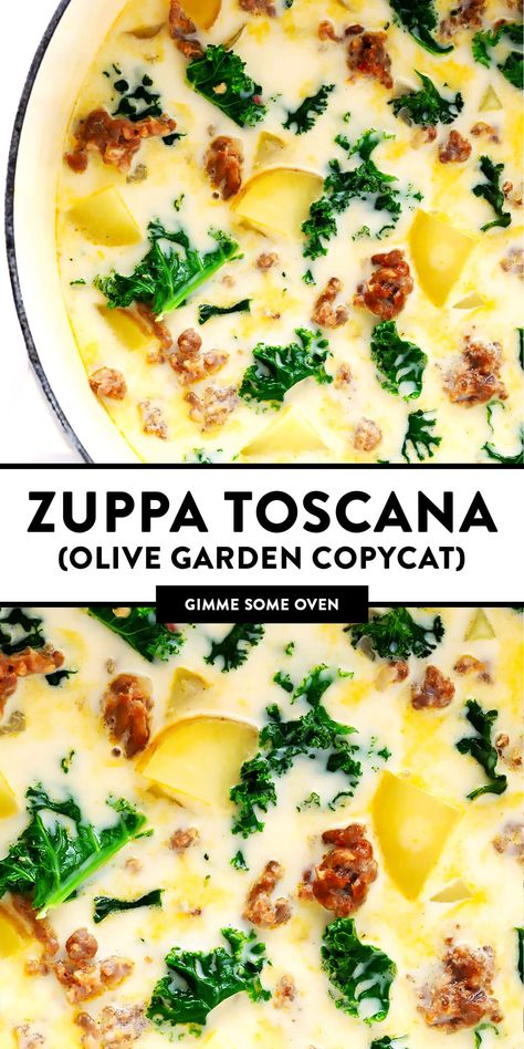 Zuppa Toscana Recipe (a la Olive Garden) This Zuppa Toscana recipe (inspired by the classic dish at The Olive Garden) is easy to make, full of the most delicious zesty Italian flavors, and it's so cozy and comforting! Easy Soup Recipes, Crockpot Recipes, Dinner Recipes, Cooking Recipes, Healthy Recipes, Summer Soup Recipes, Summer Sausage Recipes, Easy Crockpot Soup, Gluten Free Recipes For Dinner