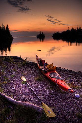 Herring Bay Sunset, Isle Royale, Lake Superior kayak #kayak #kayaker #kayaking