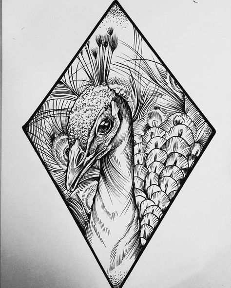 "@trinegrimm: ""A birthday gift I made for my cousin @kajakhstan. #peacock #ink #blackworkers #blackworkerssubmission #art"""