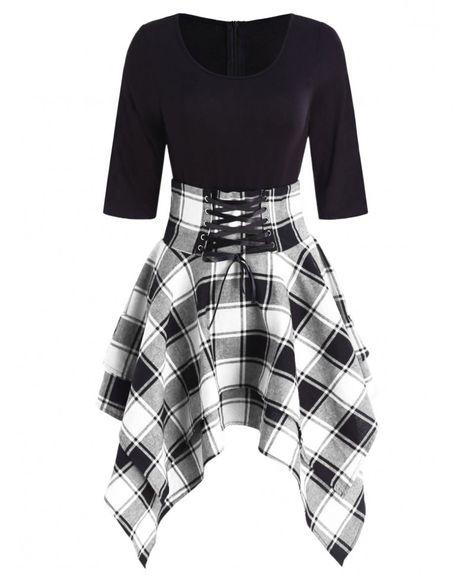 Lace Up Tartan Asymmetrical Dress - Black - 4M48297316 - Original Design-Women's Clothing  #OriginalDesignWomensClothing #Original #DesignWomen's #Clothing
