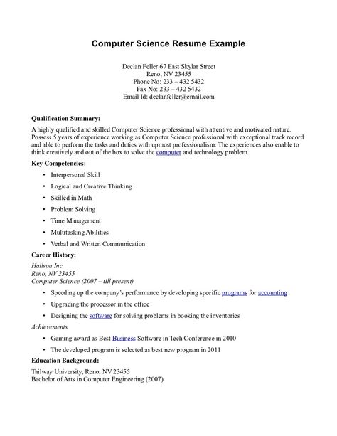 Computer Science Resume Example -    topresumeinfo computer