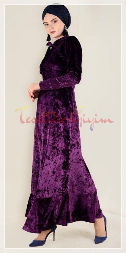 Parlak Mod Tesettur Kadife Elbise Elbise Moda Stilleri Elbise Modelleri