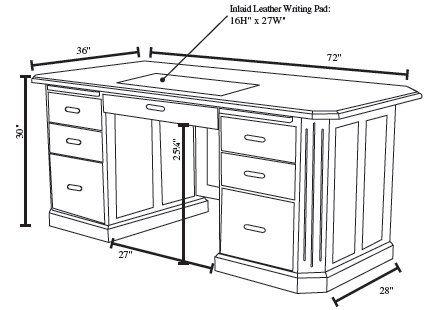Desk Dimensions executive desk size - google search   furniture   pinterest