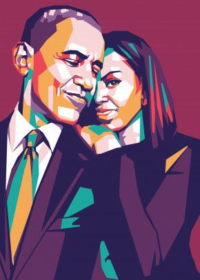 obama and michele obama poster by