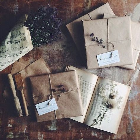 Brown paper packages and dried flowers.