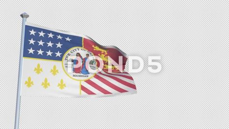 86e8d990c4d Detroit Michigan - Loopable 3D flag animation with Alpha Channel and  Transpar Stock Footage