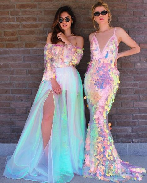 Fun holographic sequinned wedding gowns that remind us of mermaids
