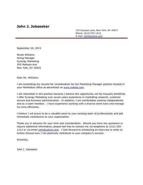 excellent cover letter examples for chemistry job ...