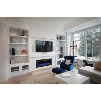 C3 Sierra 72 In Wall Built In Linear Electric Fireplace In Black Sil72 The In 2020 Wall Mount Electric Fireplace Built In Shelves Living Room Living Room Built Ins