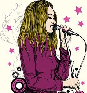 Vector Tee Graphics Design With Beautiful Girl Singing On A Microphone Singing Drawing Vector Illustration Drawing Illustrations