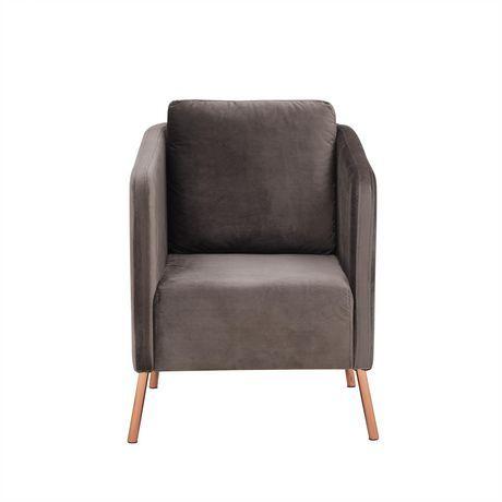 Mainstays Mainstays Velvet Arm Chair With Gold Legs Dark Mushroom