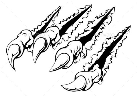 Black and white illustration of monster claws breaking through ripping tearing and scratching the wall or metal or paper backgroun