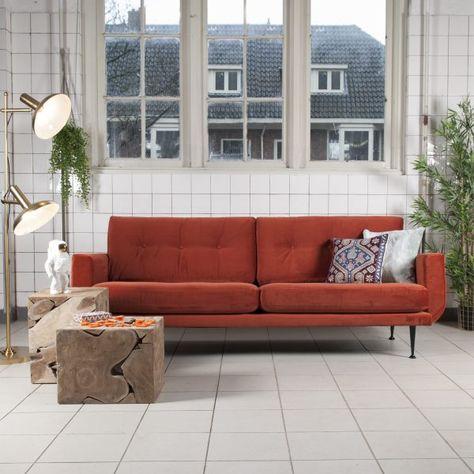 Design Bank Oranje.Bank Marieke Velvet Thuis Retro Woonkamers En Woonkamer Rood