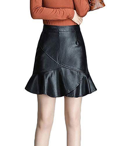7c7c0a4c0 Mujeres Falda Corta Cintura Tubo Alta Bodycon Mini Faldas De Cuero ...