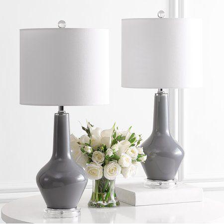 Safavieh Velor 24 In H Modern Glass Table Lamp Smoked Gray White In 2021 Table Lamp Sets Modern Glass Table Lamps Lamp Sets