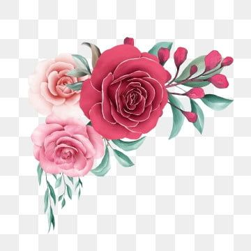 Elegant Watercolor Floral Border Decoration Of Red And Peach Roses Flowers Watercolor Clipart Floral Flowers Png Transparent Clipart Image And Psd File For F Flower Illustration Flower Clipart Floral Wreath Watercolor