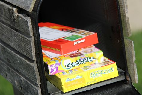 Fun Mail for Kids -- send boxes of candy through the mail. If they're under 13 oz. you can slap a stamp on them and put them in the mailbox!  How fun would it be to see this in your mailbox?   # Pin++ for Pinterest #
