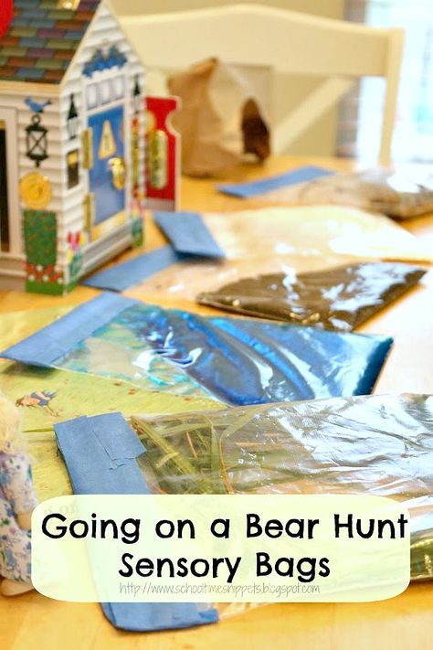 School Time Snippets: Going on a Bear Hunt Mess Free Sensory Bags Childcare Activities, Nursery Activities, Sensory Activities, Infant Activities, Classroom Activities, Book Activities, Homeschooling Resources, School Resources, Classroom Ideas