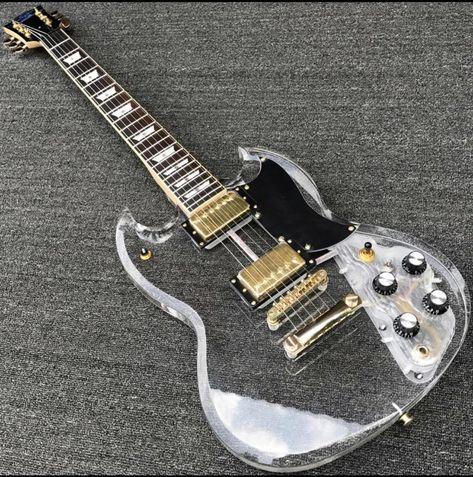 111 - Acrylic crystal Electric guitar, Fingerboard & Acrylic Body with LED light, Acrylic Guitarra with Gold Hardware, Wholesale
