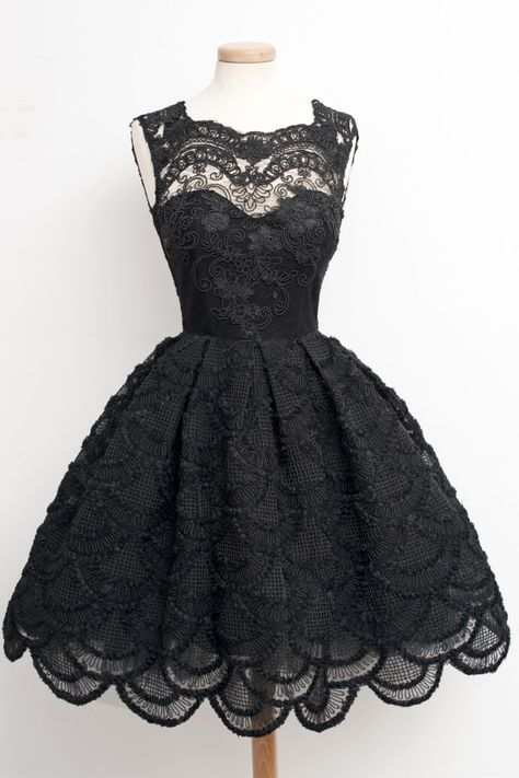 Stunning 1950's Black Lace Dress with satin underlining, tulle underskirt, and gorgeous wide scalloped hemline.