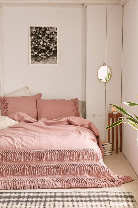 Magical Thinking Net Tassel Duvet Cover Rustic Style Bedroom Pink Bedrooms Pink Bedroom Decor