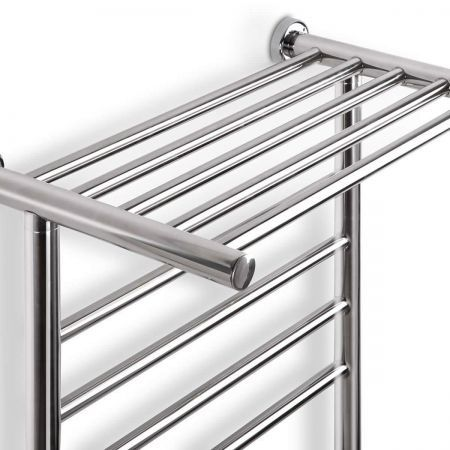 New Electric Heated Rail Towel Warmer Bar 1 Rung Polished Stainless Steel Luxury