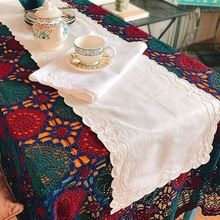 Delightful 1Pc Pastoral Style Beige / White Table Runner Embroidered Flower Table  Cover Home Decorative 35*