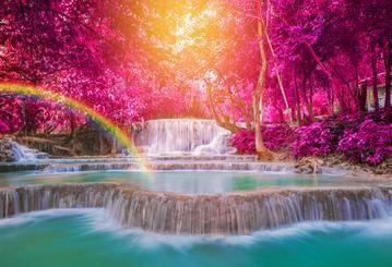 Spring Waterfall Purple Flower Blue Lake Rainbow Backdrops Hu0138 Spring Scenery Grass Backdrops Rainbow Backdrop