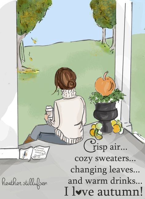 I love Autumn - Autumn Art - Autumn Cards - Greeting Cards - Quotes for Women - Art for Women - Inspirational Art