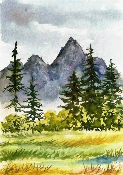 Aceo Original Autumn Fall Painting Mountain Trees Landscape