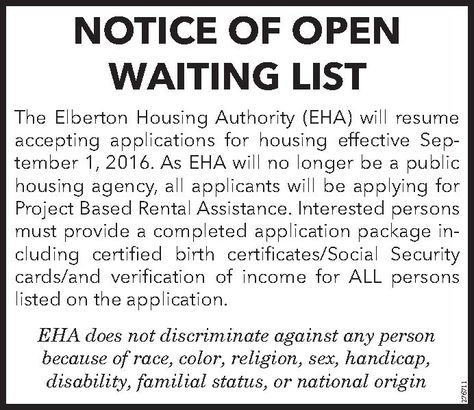 NOTICE OF OPEN WAITING LIST The Elberton Housing Authority (EHA - housing assistant sample resume