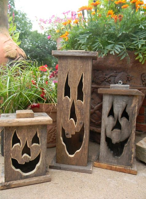 Wood lantern, made with rustic worn wood, Jack-O-Lantern for Halloween/ Fall Art decor for the patio or front porch by artist Bill Miller