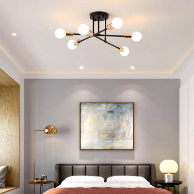 Open Bulb Living Room Ceiling Light Metal 6 8 Bulbs Modern Style Semi Flush Ceiling Light In Black White Ceiling Lights Living Room Modern Living Room Lighting Living Room Lighting