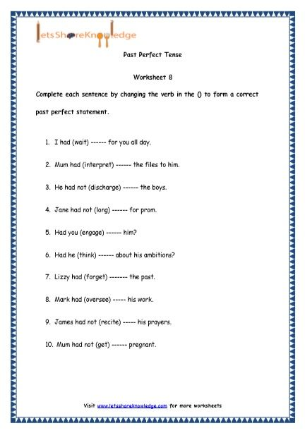 Grade 4 English Resources Printable Worksheets Topic Past Perfect Tenses Perfect Tense Printable Worksheets English Resources