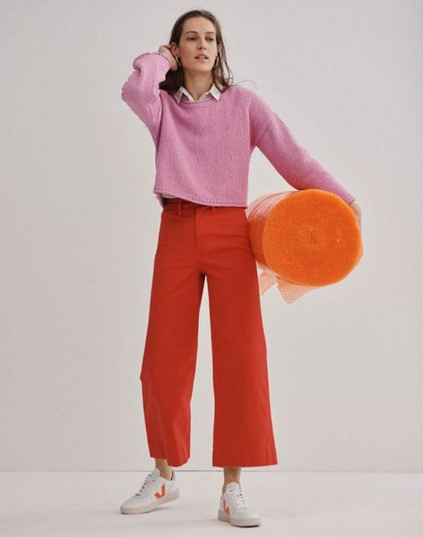 madewell emmett wide-leg crop pants worn with brownstone pullover sweater, tie-front shirt + madewell x veja leather sneakers. Veja V 10, Wide Leg Cropped Pants, Swim Skirt, Red Pants, Casual, Colourful Outfits, Facon, Pants Outfit, Fashion Tips