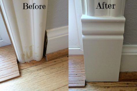 Stumped on how to transition between your baseboards and door trim? Try a plinth… Stumped on how to transition between your baseboards and door trim? Try a plinth block! This handy tutorial will show you how. Plinth Blocks, Trim Work, Moldings And Trim, Crown Moldings, Diy Crown Molding, Shoe Molding, Door Trims, Home Upgrades, Home Repairs