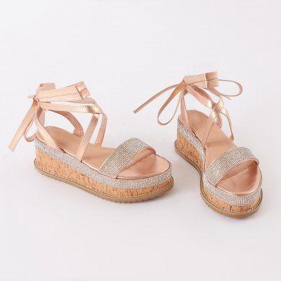 621c8a34ea5 Bora Bora Diamante Lace Up Flatform Sandal in Rose Gold | PUBLIC ...