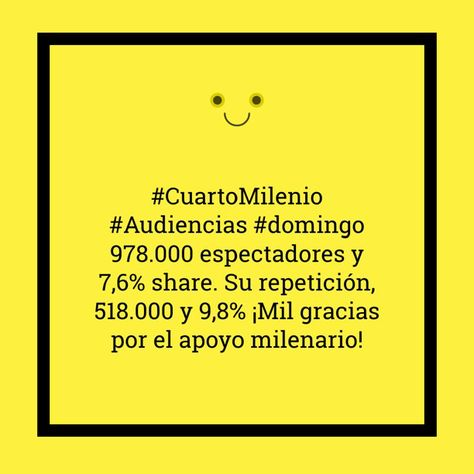 CuartoMilenio #Audiencias #domingo 978.000 espectadores y 7,6% share ...