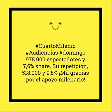 CuartoMilenio #Audiencias #domingo 978.000 espectadores y 7,6% share ...