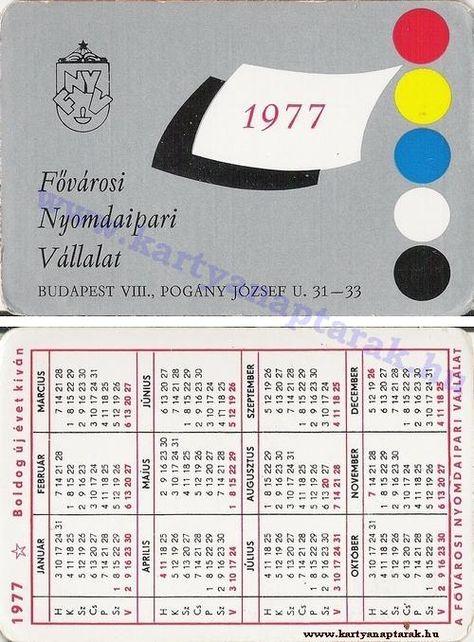 1977 1977 0231 Regi Magyar Kartyanaptarak Budapest Naptar Kivi