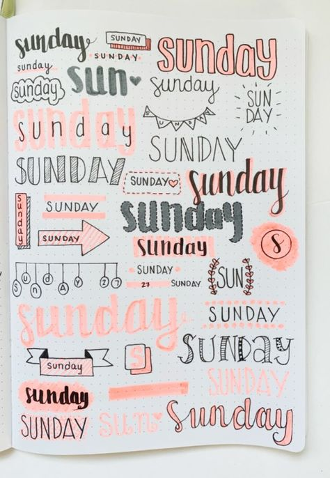 Bullet Journal Weekly Headers For You To Copy! – Sidereal Life - - Check out these super easy weekly headers for your next journal spread! Get creative and use these bullet journal weekly headers for every day of the week!