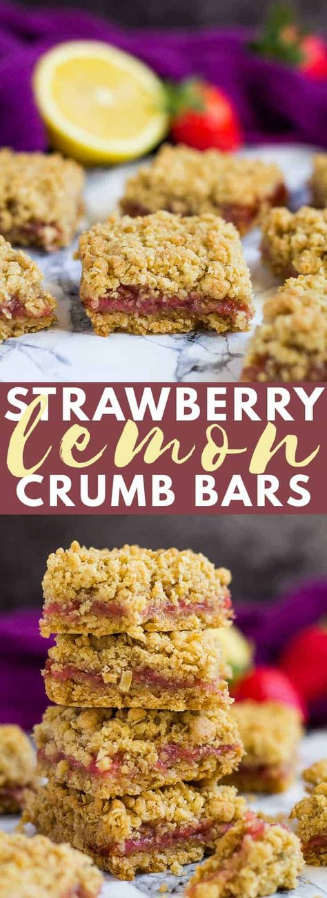 Strawberry Lemon Crumb Bars- Deliciously thick and chewy bars that are oh so buttery and crumbly, and filled with homemade strawberry lemon jam! #strawberry #lemon #crumbbars #recipe