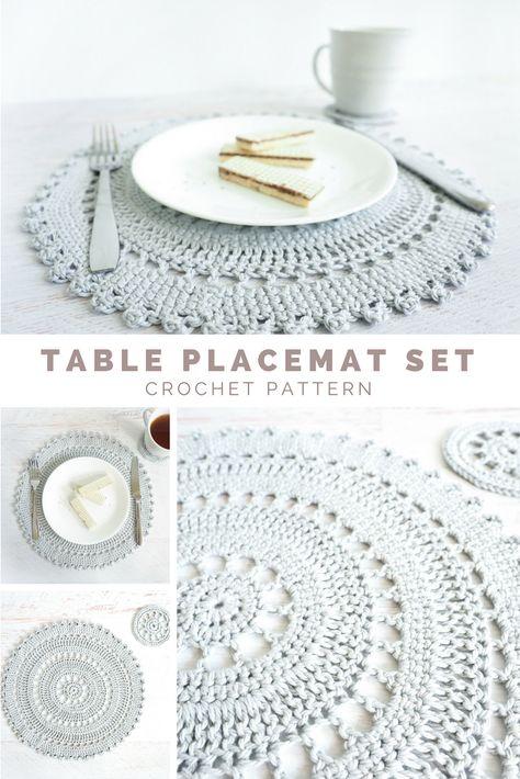 The table placement set includes an intricate crocheted placemat and coaster pattern these delicate lacy pieces are the perfect accent to that impressive feast you just prepared crochetpattern crochetplacemat crochetcoasters crochetlove crochetaddict Crochet Placemat Patterns, Crochet Doilies, Crochet Coaster Pattern, Crochet Doily Diagram, Doily Rug, Crochet Gifts, Free Crochet, Knit Crochet, Confection Au Crochet