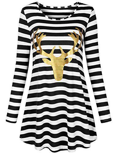 Christmas Shirt Women O-Neck Long Sleeve Elk Printing T-Shirt Casual Blouse Tops
