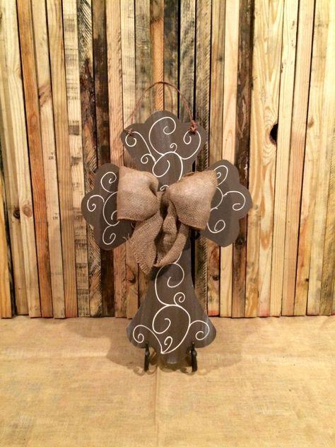 Cross Door Hanger, Easter Door Hanger, Cross, Christian, Wreath, Spring Door Hanger with Burlap Bow