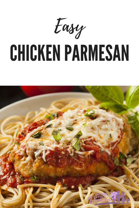 Easy Chicken Parmesan dinner recipe that is started in a skillet and then baked to finish the meal. It's best served with pasta. #dinner #chicken #KidFriendly