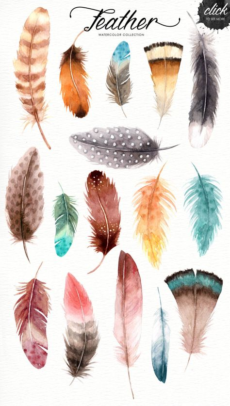 Feather Watercolor Collection Tribal Clipart American | Etsy